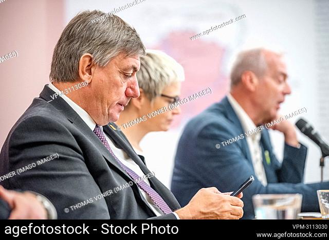 Flemish Minister President Jan Jambon, Kunsthalle curator Nerina Santorius and KMSK curator Herwig Todts pictured during a press conference at Kunsthalle...