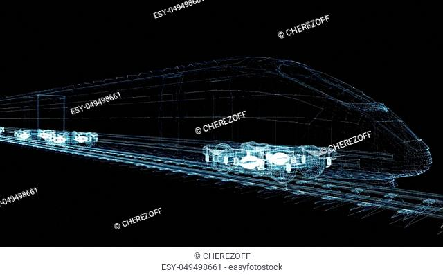 Abstract polygonal high-speed passenger train. Traveling concept. 3d illustration on black background. Digital wire-frame high-speed train