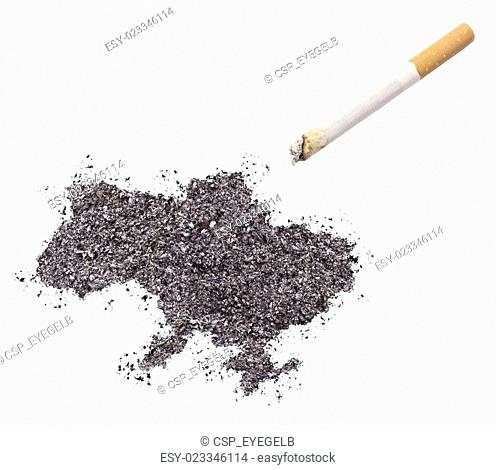 Ash shaped as Ukraine and a cigarette.(series)