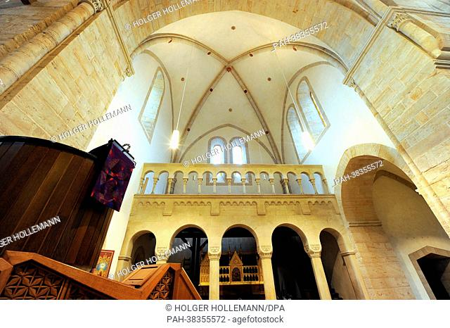 View of the pulpit and gallery of the monastery church in Loccum, Germany, 27 February 2013. On 21 March, the monastery celebrated its 850th anniversary