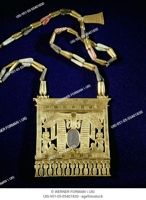 Winged scarab pectoral chain, from the tomb of Psusennes I
