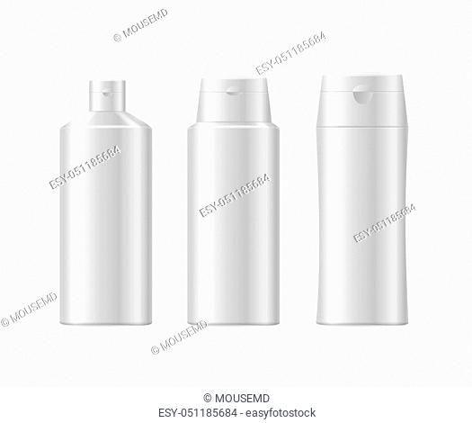 Realistic Template Blank White Shampoo Cosmetic Bottle Isolated Health Care Normal Hair. Vector illustration of three bottles view