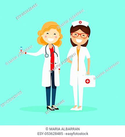 Woman doctor and nurse. Hospital team. Medicine vector illustration