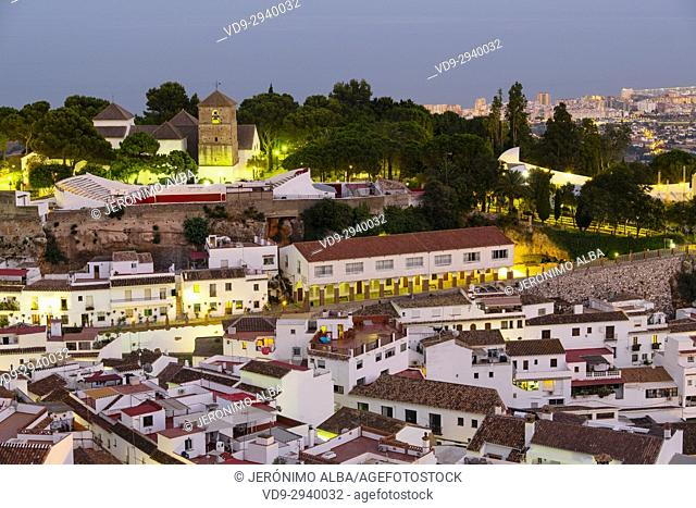 Cityscape. White village of Mijas Pueblo at dusk. Malaga province Costa del Sol. Andalusia southern, Spain Europe
