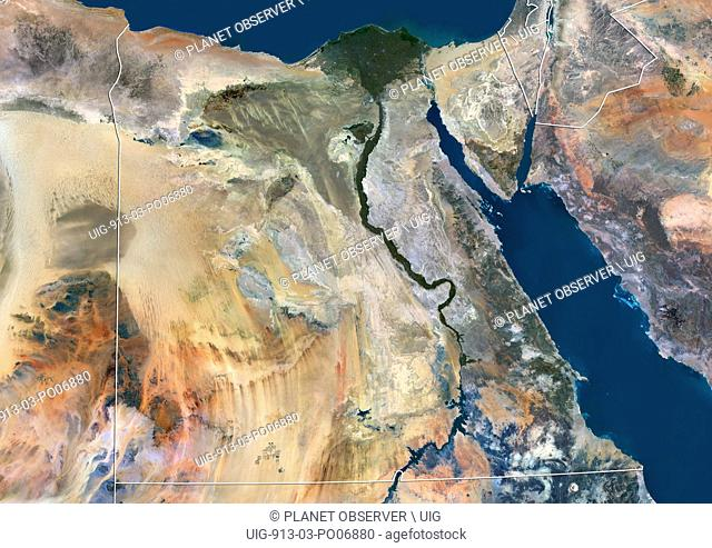 Satellite view of Egypt (with country boundaries). This image was compiled from data acquired by Landsat 8 satellite in 2014