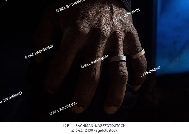 Nepal, Porter's hand in Porter House in Namche Bazarre remote, Mt Everest, Himalayas