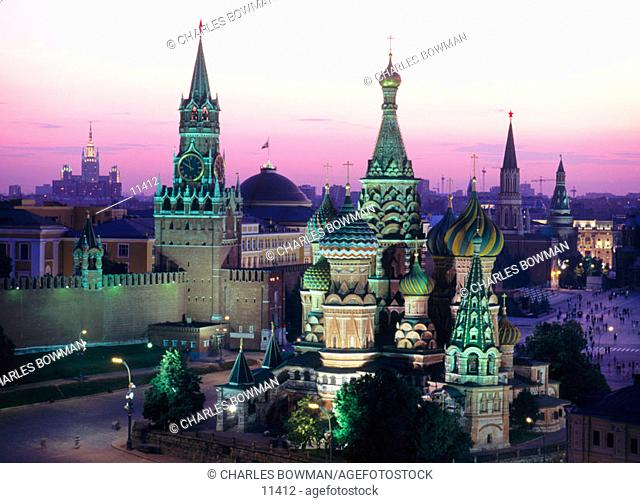 St. Basil's Cathedral and The Kremlin. Moscow. Russia