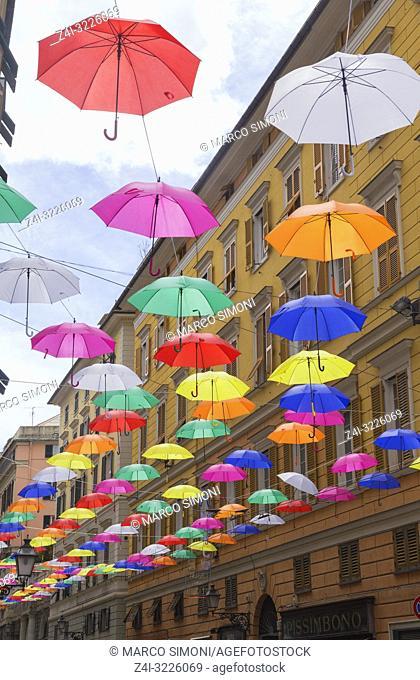 Brightly coloured floating umbrellas, Genoa, Liguria, Italy, Europe