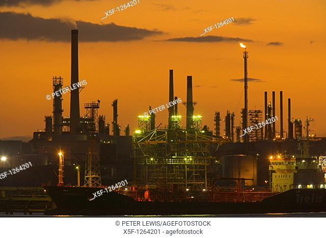 Fawley Oil Refinery at Sunset Fawley nr Southampton Hampshire