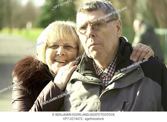 senior couple together in park, in Cottbus, Brandenburg, Germany