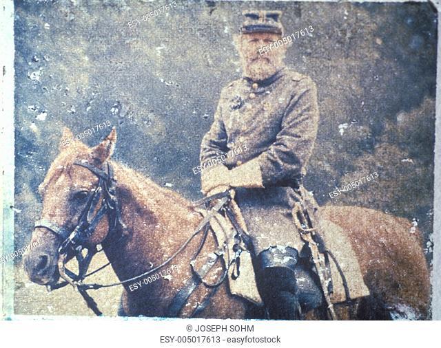 Polaroid Transfer of soldier on horseback during Civil War reenactment of Battle of Bull run