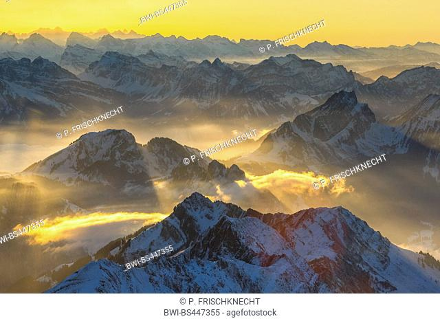 view from Saentis to mountain scenery, Switzerland, Appenzell