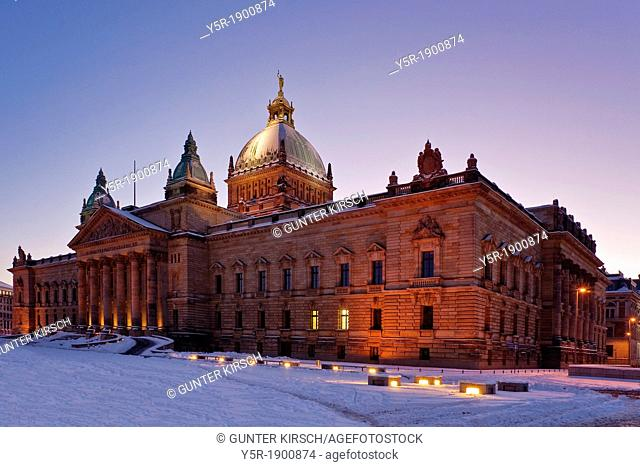 Wintertime at the 1888 to 1895 build supreme court of the German Reich, today domicile of the federal administrative court, Leipzig, Saxony, Germany, Europe