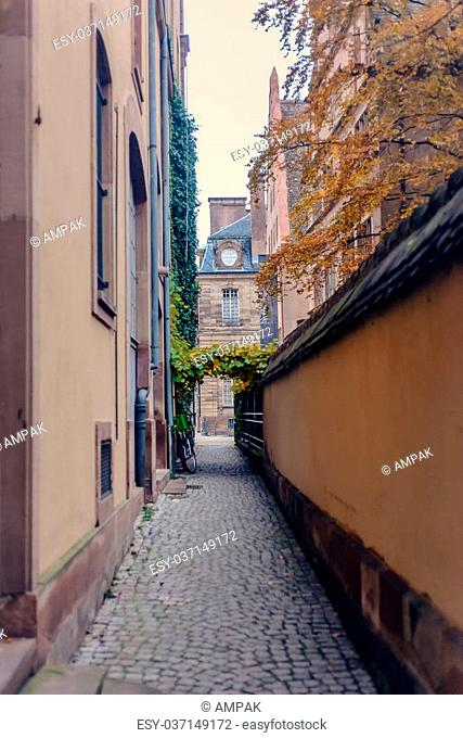 Narrow the lane in old part the city of Strasbourg