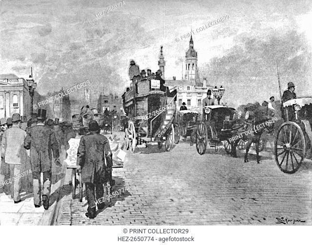 'London Bridge - Going Across', 1891. Artist: William Luker