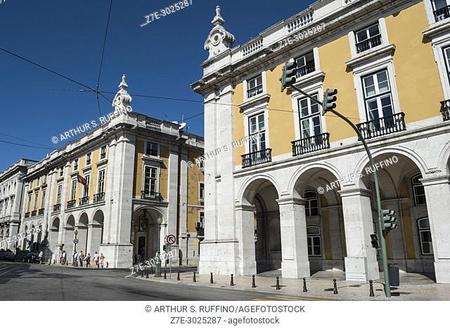Arcade buildings on Commerce Square (Praça do Comércio), Baixa district, Lisbon, Portugal, Europe