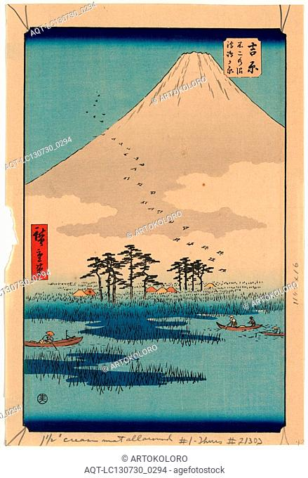 Yoshiwara, Ando, Hiroshige, 1797-1858, artist, [1855, printed later], 1 print : woodcut, color ; 37.5 x 25.4 cm., Print shows boats on a lake with trees and...