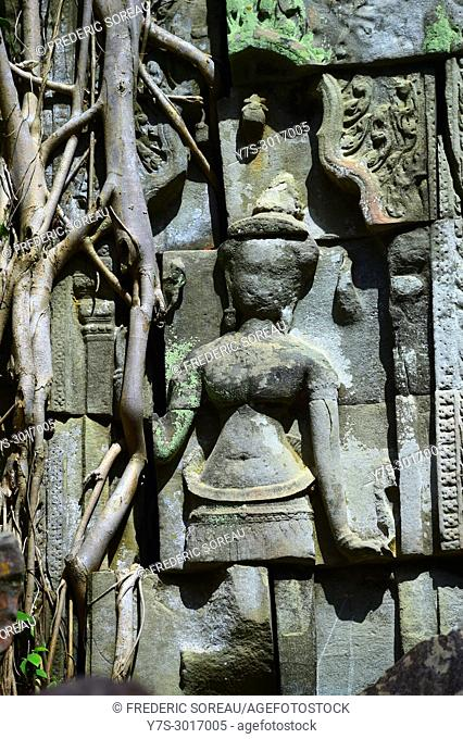 Stone carved devata statue, Beng Mealea temple ruins, Angkor, Siem Reap Province, Cambodia, South East Asia, Asia