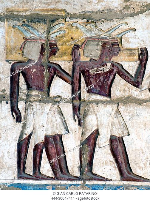 Medinet Habu, Luxor, Egypt, Djamet, mortuary temple of King Ramses III, ( XX dyn. 1185 -1078 B.C): nubian characters carved on a wall