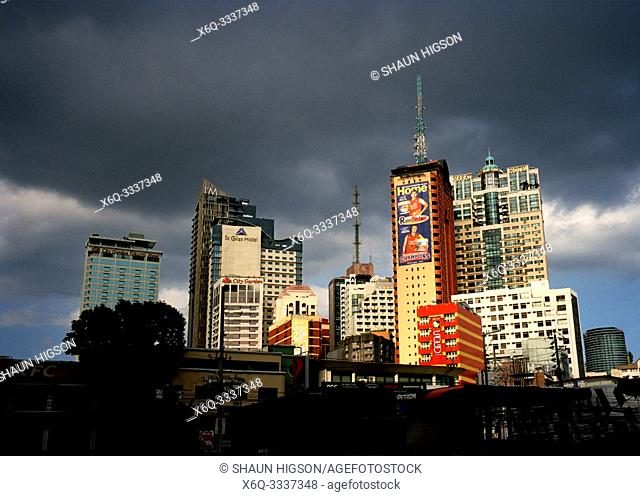 Manila skyline in Makati in Manila in Luzon Metro Manila in the Philippines in Southeast Asia Far East
