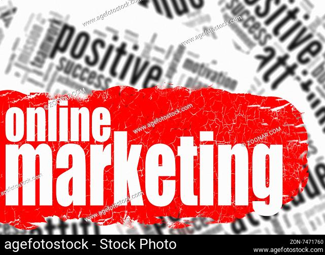 Word cloud online marketing image with hi-res rendered artwork that could be used for any graphic design