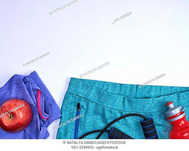 sportswear for fitness on a white background, copy space