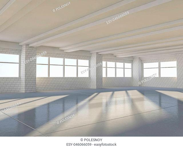 Sunny spacious area with windows. 3D rendering
