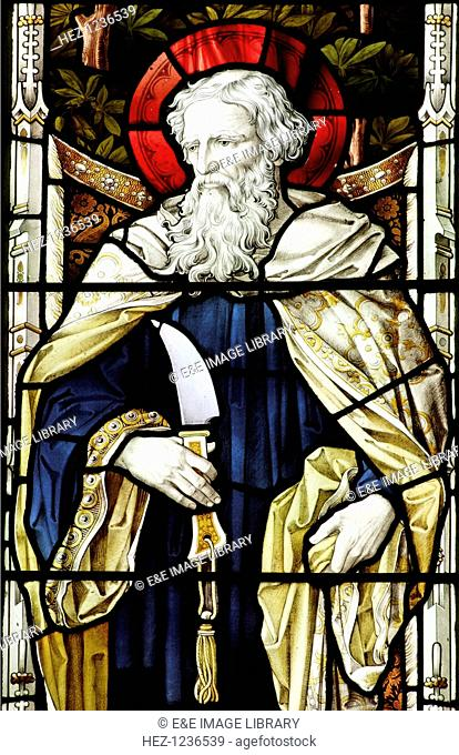 St Bartholomew, stained glass, St Andrew's Church, Hingham, Norfolk. Bartholomew was one of the Twelve Apostles of Christ