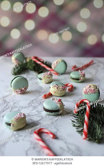 Christmas macaroons with candy canes
