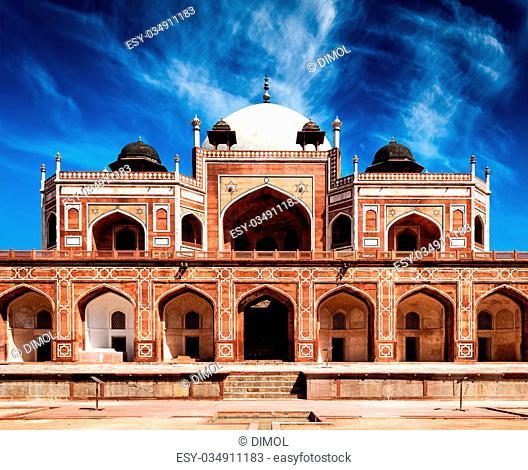Humayun's Tomb. Delhi, India. UNESCO World Heritage Site. Frontal View