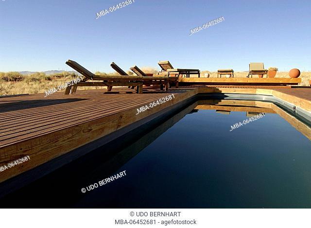 Africa, Namibia, NamibRand Nature Reserve, Wolwedane Dunes lodge, pool