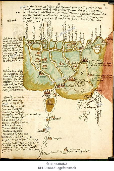 Map of Lower Egypt, Whole folio Part of Raleigh's historical gazeteer of the Middle East, with a map of Lower Egypt and the Nile delta Image taken from Notebook...