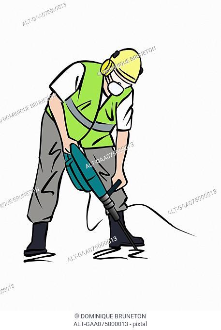 Illustration of construction worker using jackhammer