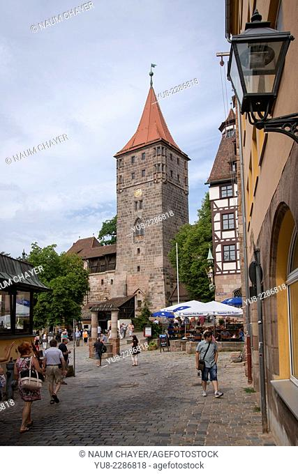 Nuremberg castle courtyard with Heidenturm Heathen Tower, Nürnberg, state of Bavaria, Middle Franconia, Germany, Europe