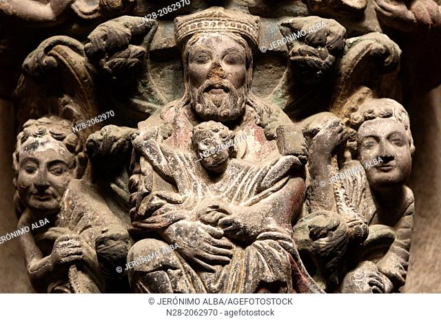 Detail on the mullion of the Pórtico de la Gloria, 12th century Romanesque portico of the catedral, Santiago de Compostela, Way of St James, A Coruña, Galicia