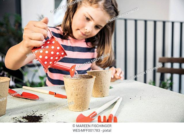 Little girl watering her seeds on balcony