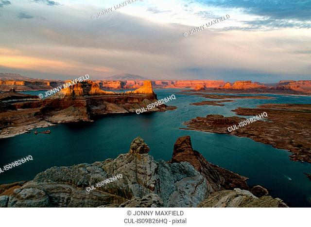 View of Lake Powell and canyons at sunset, Alstrom Point, Utah, USA