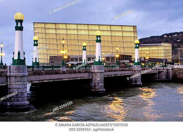 Zurriola bridge, Urumea river and Kursaal in blue hour, Donostia - San Sebastian, Basque Country, Spain