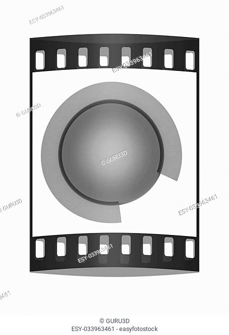 Button sphere with a semicircle isolated on white background. The film strip