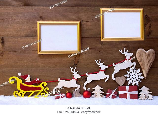 Christmas Decoration, Red Santa Claus, Yellow Sled And Reindeer On White Snow. Gift, Present, Christmas Tree, Ball, Snowflakes, Heart, Two Picture Frame