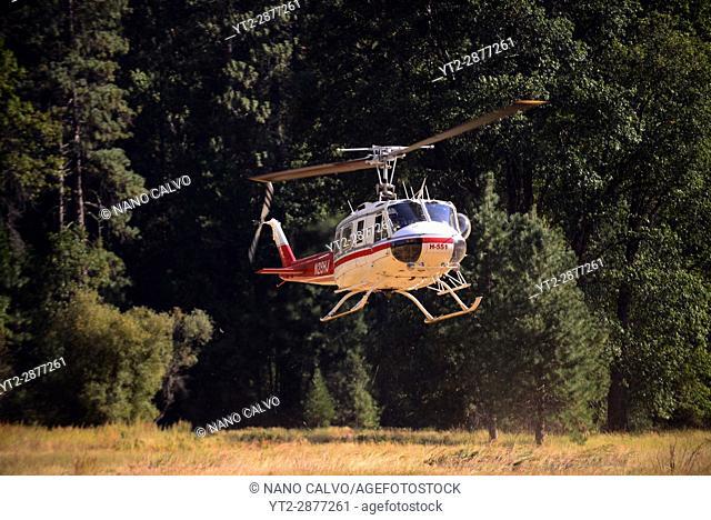 Rescue operation for a fallen climber in Yosemite, California, United States