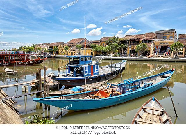 Traditional boats on Thu Bon River. Hoi An Ancient Town, Quang Nam Province, Vietnam