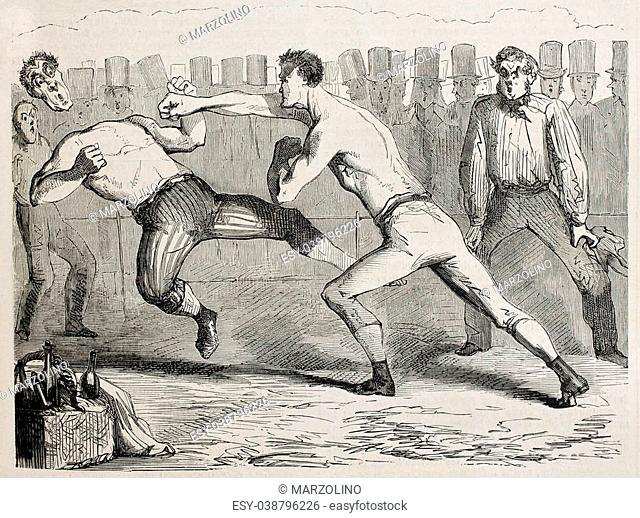 Antique humorous illustration of a straight right paunch during a boxing match. Original, by Benassis et Darjou, published on L'Illustration, Journal Universel