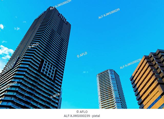Skyscrapers and blue sky, Tokyo, Japan
