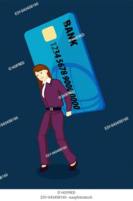 Sad lady carrying a gigantic credit card on her back. Creative vector Illustration on credit card debt concept isolated on green plain background