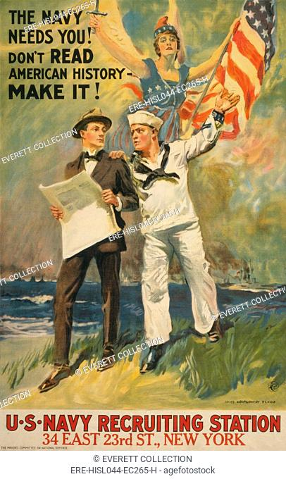 THE NAVY NEEDS YOU! DONT READ AMERICAN HISTORY - MAKE IT! American World War 1 recruiting poster by James Montgomery Flagg, 1917 (BSLOC-2017-1-50)