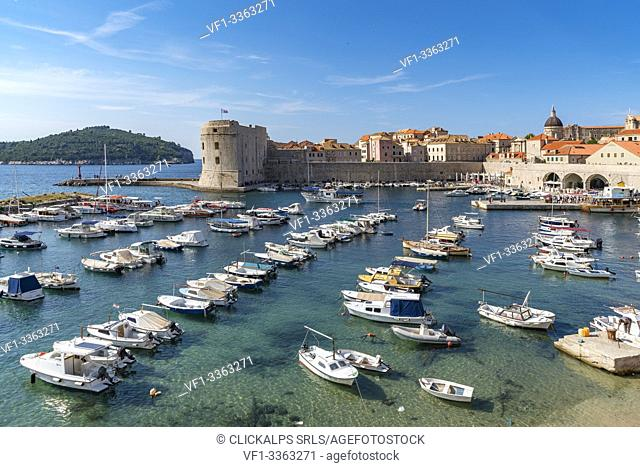 Boats in the harbour of the old town in summer. Dubrovnik, Dubrovnik - Neretva county, Croatia