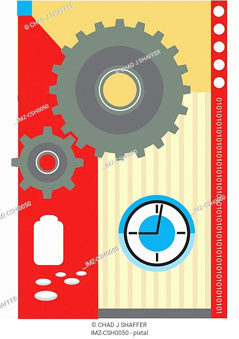 The gears of healthcare turning with prescription and time