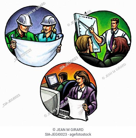 Skilled workers, circle images
