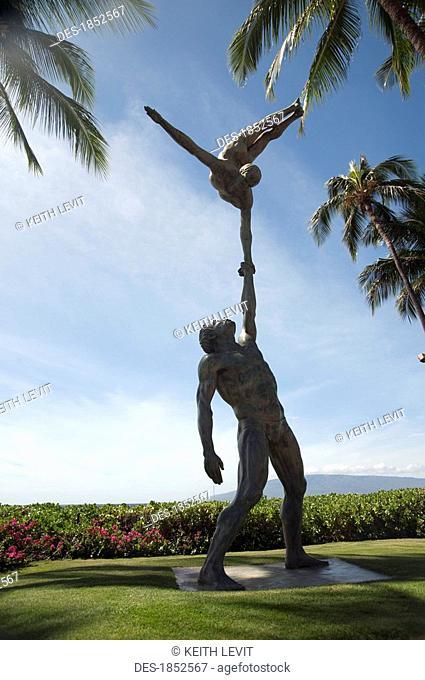 Statue of acrobats, Maui, Hawaii, USA